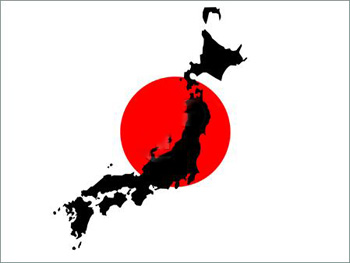 Japanese Flag with map